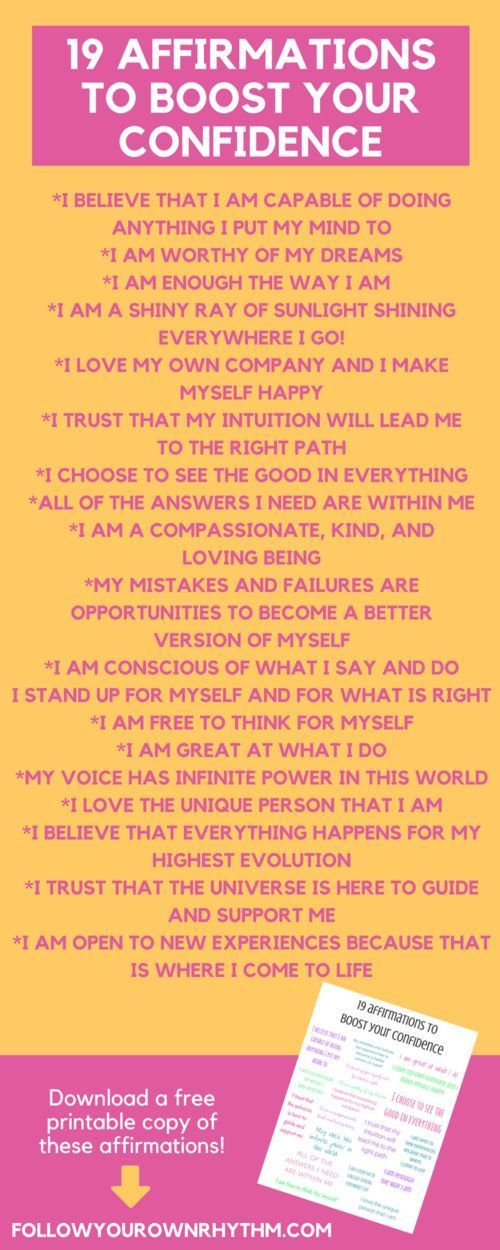 Confidence affirmations are a great way to boost your self-esteem and get you into the mind space of feeling good about yourself and where you are in life. Download these affirmations in a free printable format and hang it on your wall or mirror! Click th