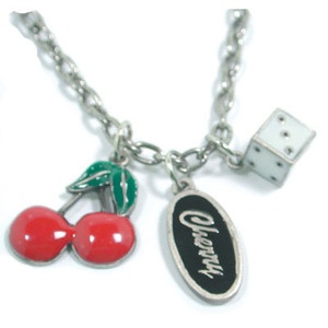 Cherry Charm Necklace $24.99 Gorgeous Cherry Charm necklace.  High quality metal enameled cherries, die and Cherry charms. Solid and secure chain necklace.