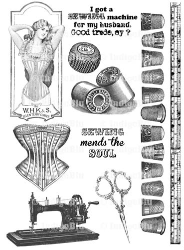 IndigoBlu Unmounted Rubber Stamp Set - Sewing Mends the Soul