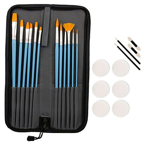 Custom Body Art Halloween Face Paint 12-Piece Premium Nylon Hair Brush Set with Carry Case & 10-Piece Sponge Pack