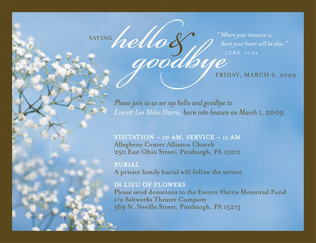 7 best Joanna (Memorial Invitation) images on Pinterest - memorial service invitation wording