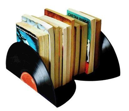 Upcycled Vinyl Record Book Ends (Set of 2)