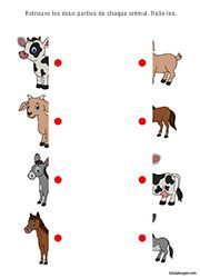 Exercise to print, kindergarten. Connect the two parts of each animal