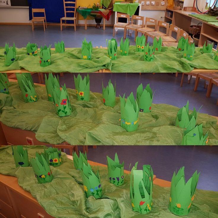 Osterwiesennestli: Boden einer kleinen Petflasche...umklebt mit Papierwiese und Blumen