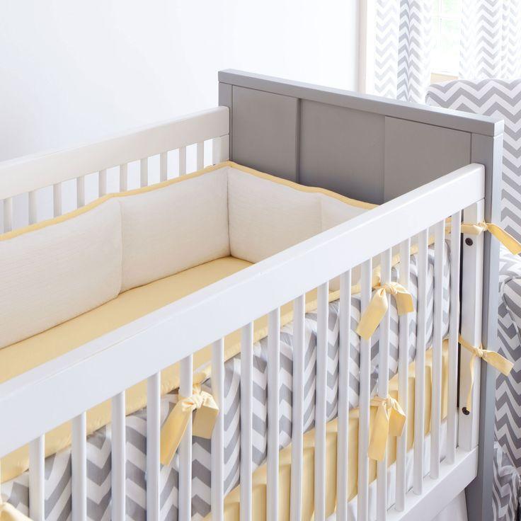 Gray And Yellow Zig Zag Crib Bumper Bedding BoyChevron