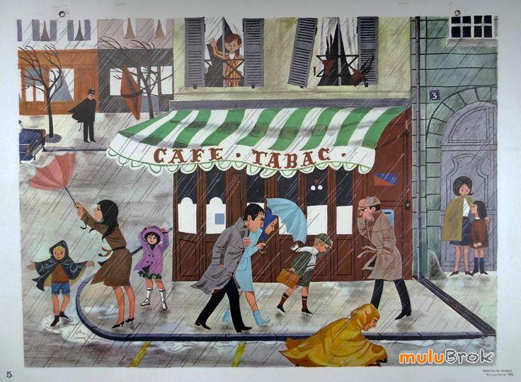 Affiche scolaire NATHAN. Vintage. Sous la pluie ... sur www.mulubrok.fr ...