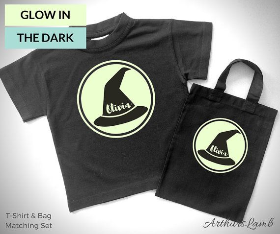 At Halloween little girls love witches, but witchcraft is not just for halloween!! And with this matching personalised Glow in the Dark Witch Hat t-shirt and Halloween Trick or Treat Bag you are sure to stand out!! So whether you are looking for a first Halloween costume, a Halloween gift, Halloween treat bags or something to wear all year round, this matching shirt and goody bag personalized with any name will be a much loved addition!! When ordering, please note the name required in…