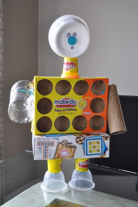 Recycled robot - have your students create art using recycled materials.  Challenge them to think outside the box!