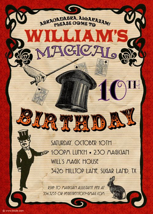 Vintage inspired Magic Party Invitation by B.Nute productions on etsy