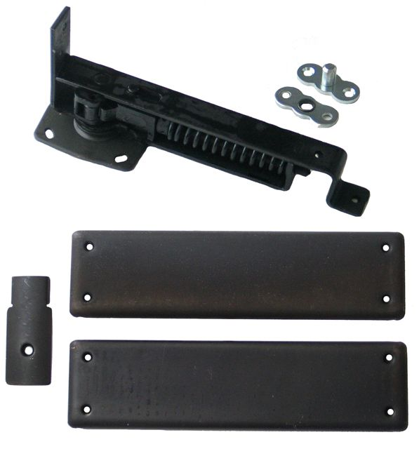 Swinging Door Hinge, Heavy Duty, Oil Rubbed Bronze Trim will need to paint black to match door