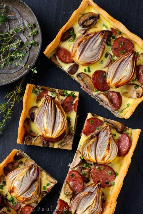 Roasted Shallot, Mushroom, & Smoked Sausage Tart | The Framed Table