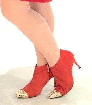 Zara gold cap toe spike red suede booties