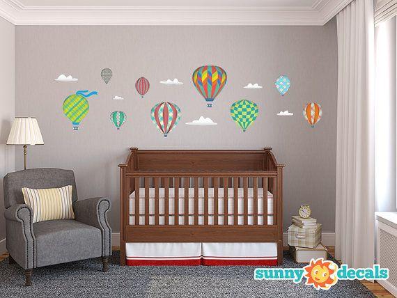 Aire caliente globos tela etiquetas de la pared, decoración de la pared, etiquetas engomadas de la pared para salas de juego infantiles, habitaciones infantiles, escuelas por calcomanías soleadas