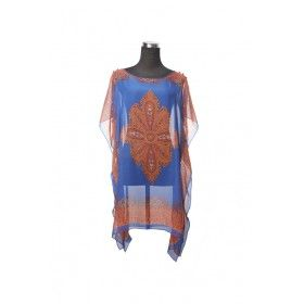 Silk Kaftan Top - Blue