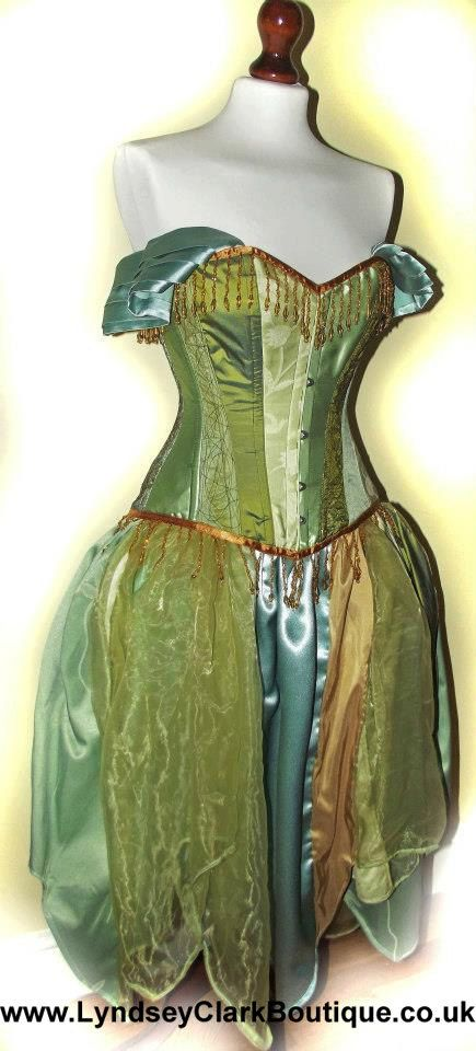 Absinthe wedding dress / prom. Steampunk corset by LyndseyBoutique