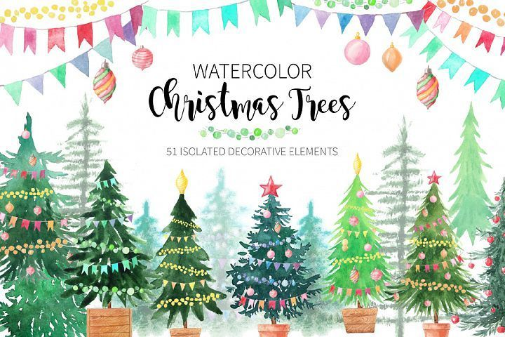 Watercolor Christmas Trees Watercolor Christmas Tree Christmas