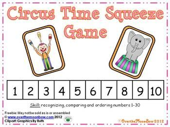 Freebie~These adorable circus friends will help your students practice recognizing, comparing and ordering numbers 1-30!