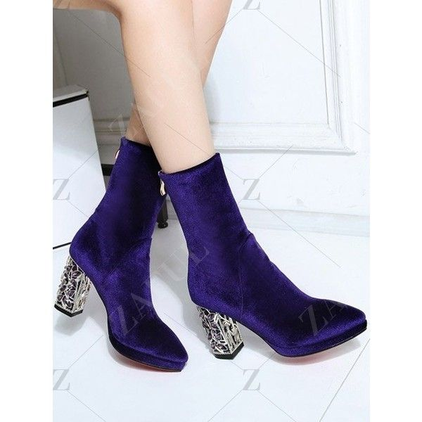 Metal Chunky Heel Velvet Sock Boots ($70) ❤ liked on Polyvore featuring shoes, boots, thick heel boots, thick heel shoes, metal boots, velvet boots and chunky heel boots