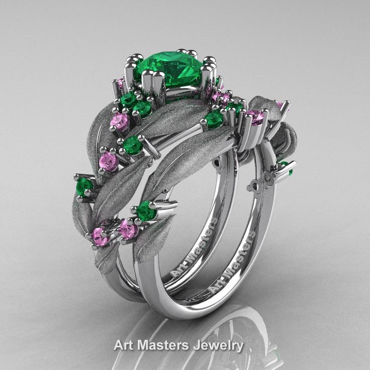 Nature Classic 14K White Gold 1.0 Ct Emerald Light Pink Sapphire Leaf and Vine Engagement Ring Wedding Band Set R340SS-14KWGLPSEM | Art Masters Jewelry