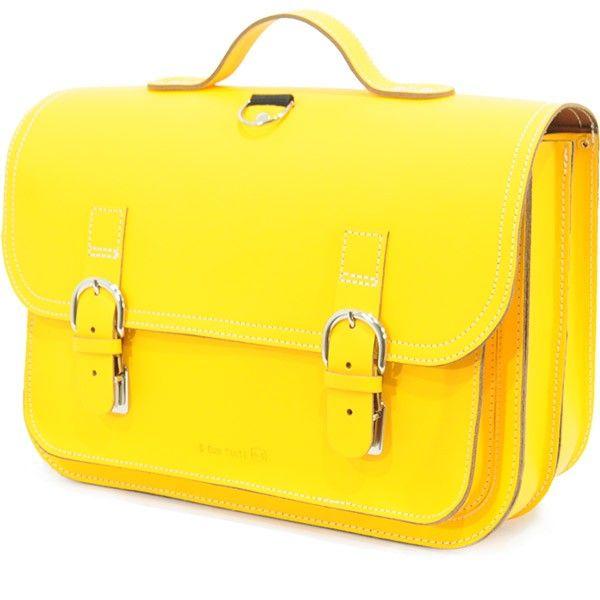 Own Stuff lederen boekentas 38cm - geel