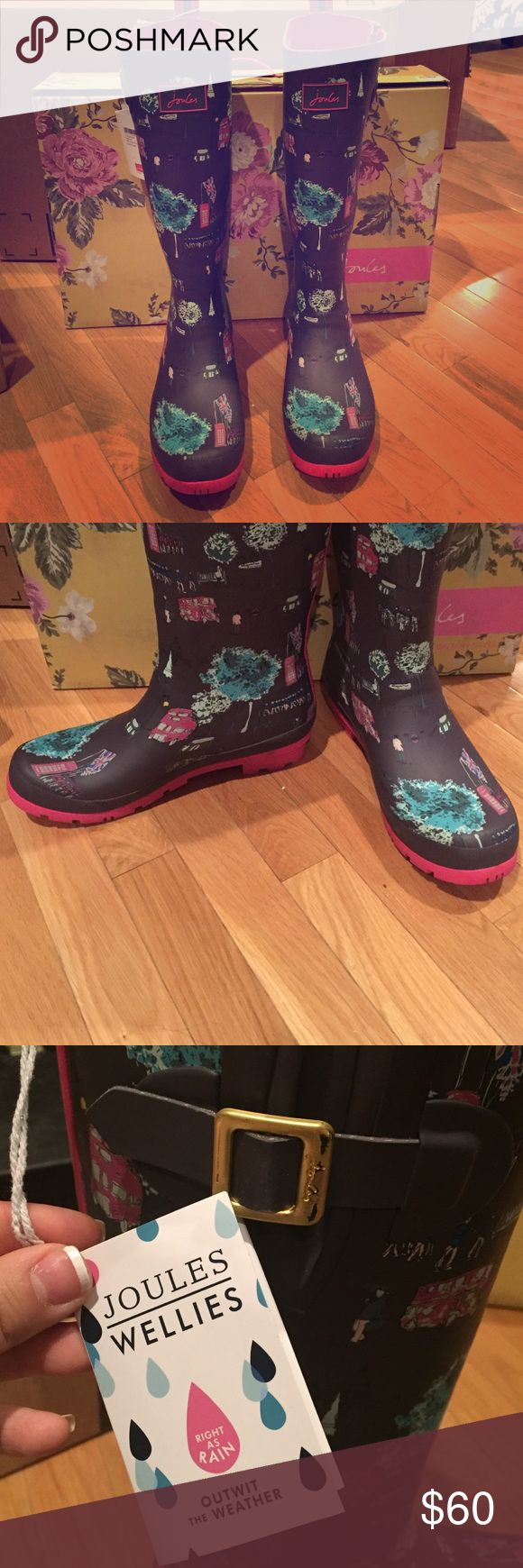 NIB Joules Welly Rain Boots Slate London Blue 10 New in box rain boots  size 10. With tags. Will ship in original shoe box. Joules Shoes Winter & Rain Boots