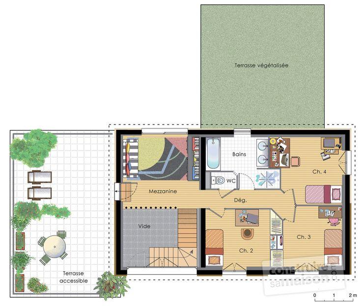 Plan habillé Etage - maison - Maison à énergie positive 2