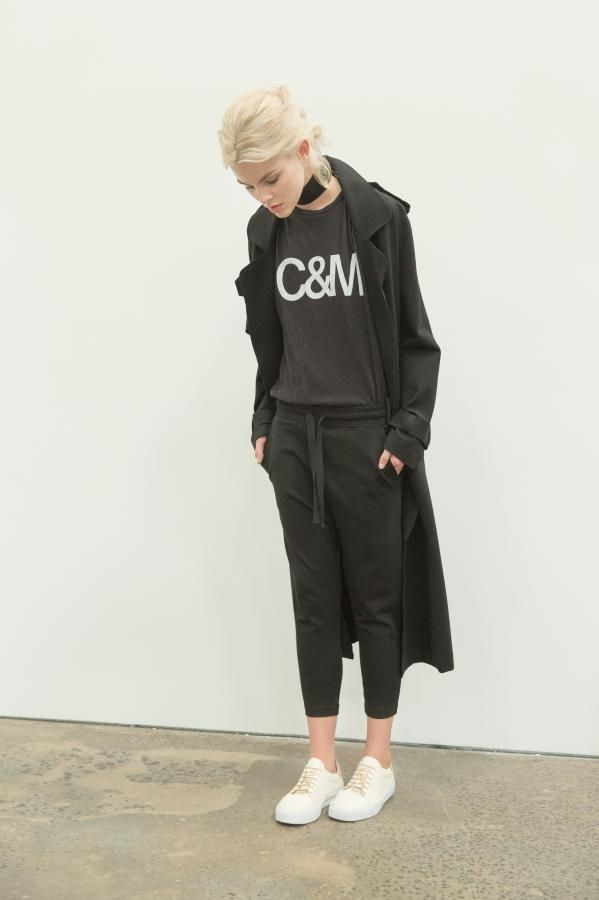 The Perry Bonded Trench, C&M Classic Muscle Tank and The Charlton Pant by C&M CAMILLA AND MARC