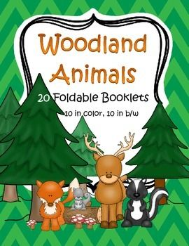 Woodland Forest Animals - 20 foldable informational booklets for early learners - 10 are in full color, 10 are in in b/w.  Woodland forest animals included are: bear, deer, fox, hedgehog, owl, porcupine, mole, rabbit, skunk,and squirrel.  22 pages