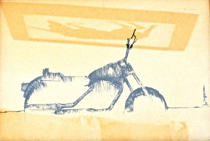 black ink on brown paper by a.chiaravalli- www.motobast.com