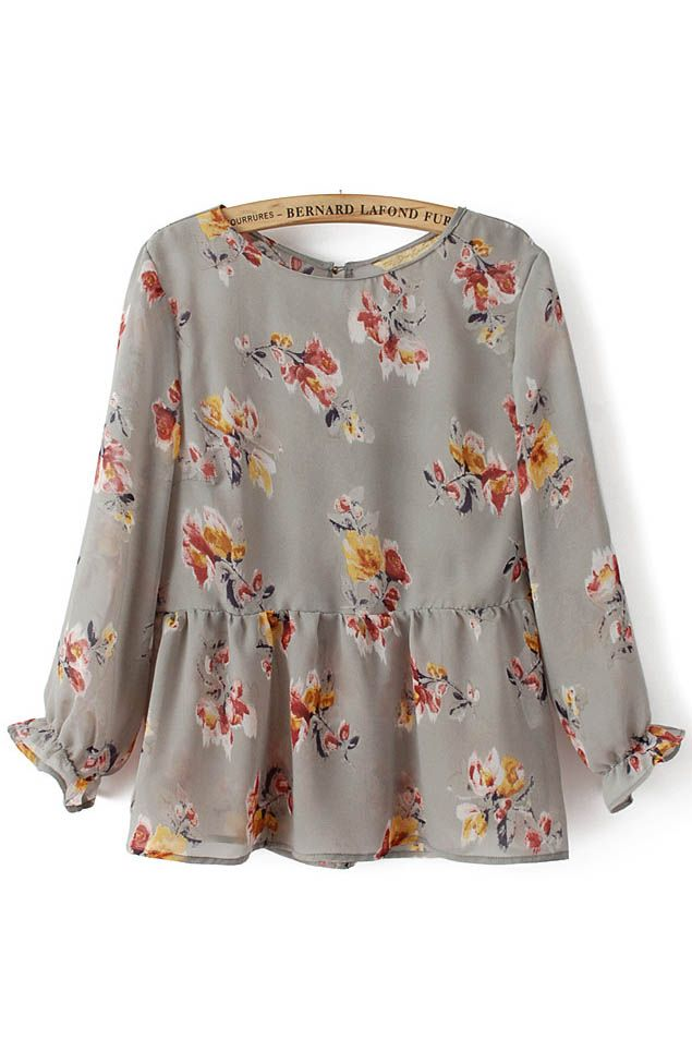 Floral Printing Falbala Cuff Layered Hem Chiffon Long Sleeves T-shirt (Floral Top)