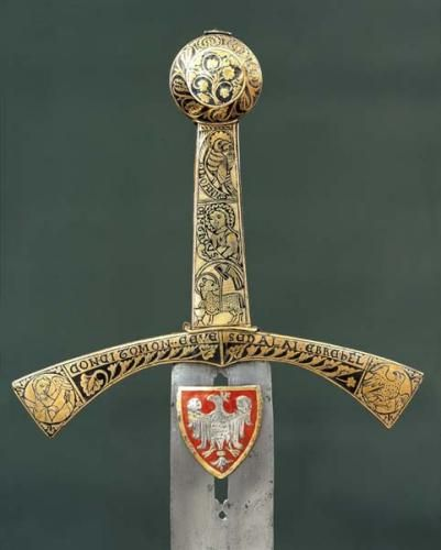 """""""The sword of destiny has two edges. You are one of them."""" - Andrzej Sapkowski - Polish """"Szczerbiec"""" is the coronation sword that was used in crowning ceremonies of most kings of Poland from 1320 to 1764. It is currently on display in the treasure vault of the Royal Wawel Castle in Kraków as the only preserved piece of medieval Polish Crown Jewels."""
