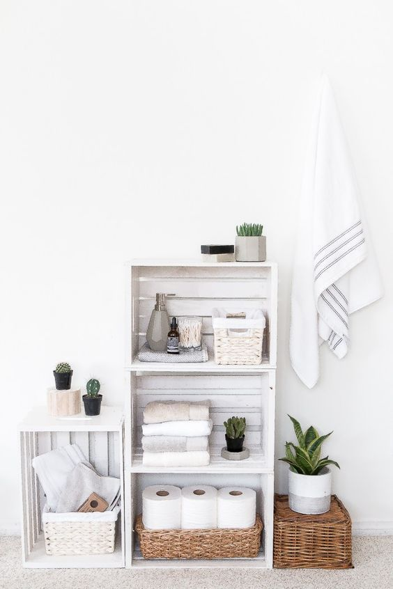 Give your bathroom a new look with this DIY Crate Shelves bathroom organizer. : Give your bathroom a new look with this DIY Crate Shelves bathroom organizer. Regal Bad, Bathroom Organisation, Bathroom Shelves, Organization Ideas, Bathroom Ideas, Simple Bathroom, Glass Shelves, Boho Bathroom, Bathroom Box