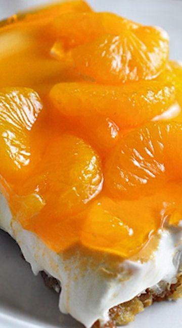 Mandarin Orange Pretzel Dessert  http://bellyfull.net/2015/07/22/mandarin-orange-pretzel-dessert/