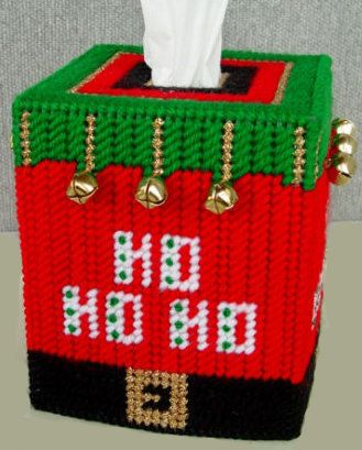 Boutique Size Tissue Box Cover  HO HO HO Jingle by NiftyStitches4U, $20.00