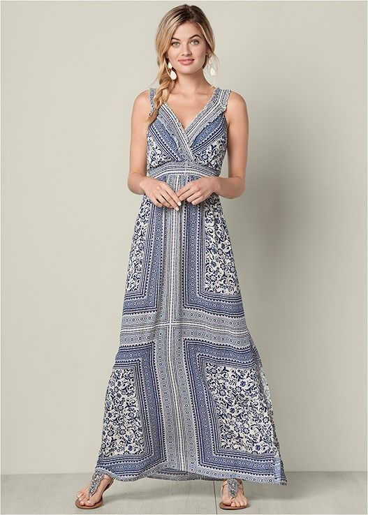 b0bbea0074 Blue Multi PRINTED MAXI DRESS from VENUS women's swimwear and sexy clothing.  Order Blue Multi PRINTED MAXI DRESS for women from the online catalog or ...