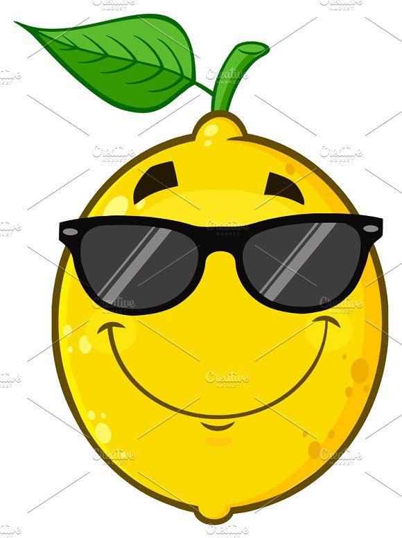 Smiling Lemon Fruit With Sunglasses Fruit Cartoon Lemon Drawing Lemon Art
