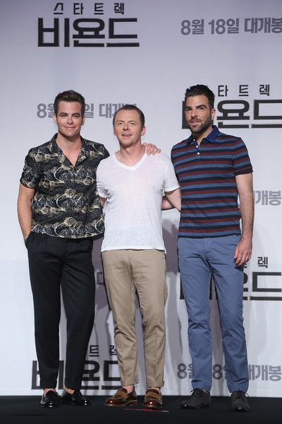 """(L-R) Actors Chris Pine, Simon Pegg and Zachary Quinto attend the Press Conference and Photocall in advance of the Fan Screening of the Paramount Pictures title """"Star Trek Beyond,"""" on August 16, 2016 at Grand Intercontinental Hotel in Seoul, South Korea."""