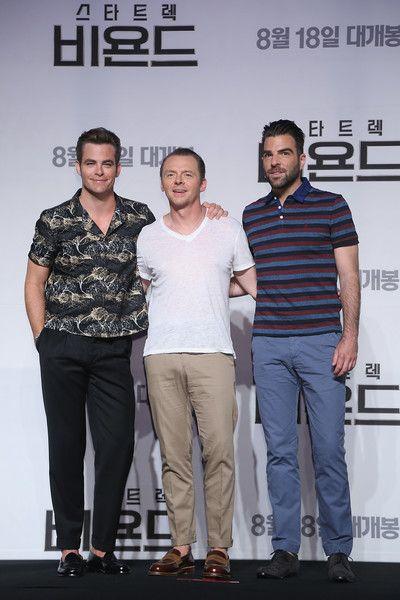 Zachary Quinto Photos - (L-R) Actors Chris Pine, Simon Pegg and Zachary Quinto…