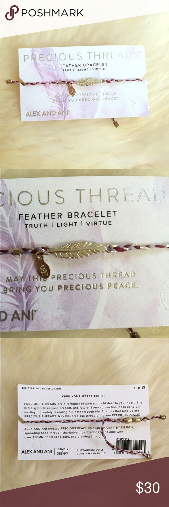 NEW Alex and Ani precious threads feather bracelet Brand new on cards it comes with with meaning. Adjustable. Retail $38 Alex & Ani Jewelry Bracelets
