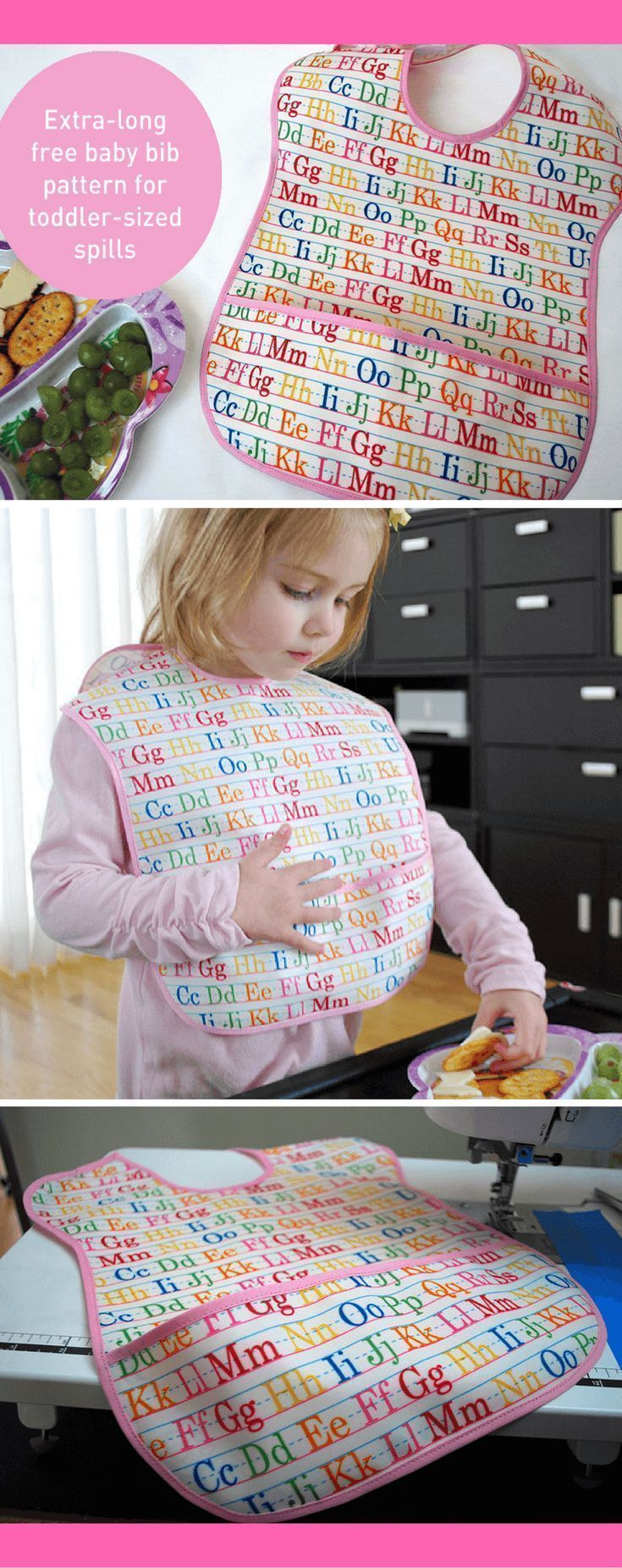 Extra-long baby bib free sewing pattern for todder-sized spills. Make this longer bib with a large pocket for toddler and reduce your laundry! Makes a great DIY baby gift. #freesewingpattern #diy #bib #kids #baby