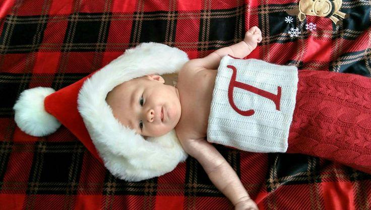 Stocking baby Christmas Eve photoshoot