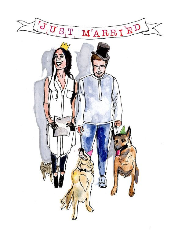Custom wedding illustrations with pets. by PhaedraCrespiShop
