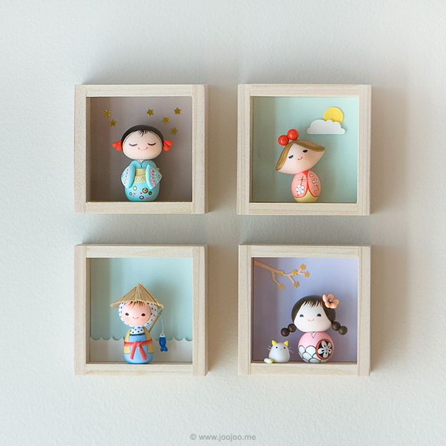 Kokeshi dolls, shadowboxes from Heezome . My parents Etsy shop