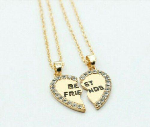 collar doble dorado para mejores amigos amigas bff