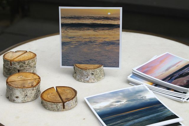 DIY Birch Branch photo/card holder with photos from Social Print Studio of Dana Point Sunsets.....I have the perfect branch to do this!