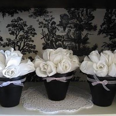 Gift for Matthew's Teacher: White Rose, Black And White, Flowers Pots, White Parties, Flower Pots, Parties Ideas, Topiaries, Soaps Flowers, Clay Pots