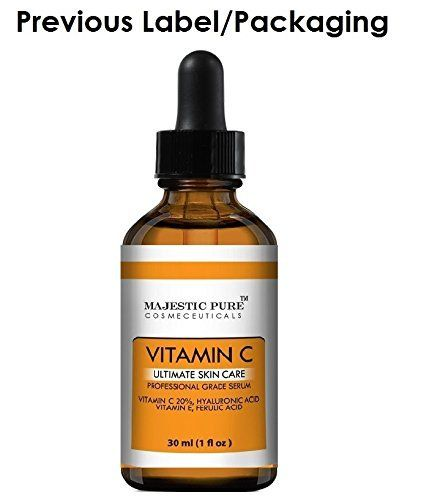 Majestic Pure Vitamin C Serum L-ascorbic Acid for Age Spots,Wrinkles, Sun Damage and Dark Circles Under the Eyes, 1 Fluid Ounce