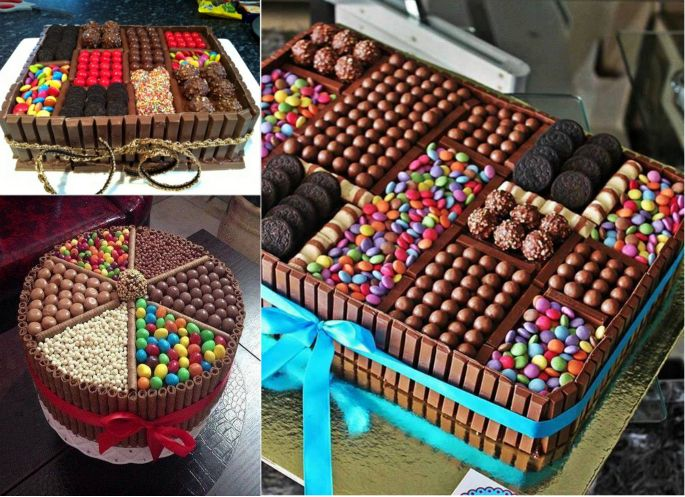Who wouldn't love a cake filled with sweets or chocolate ? Amazing Chocolate Box Cake--> http://wonderfuldiy.com/wonderful-diy-amazing-chocolate-box-cake/
