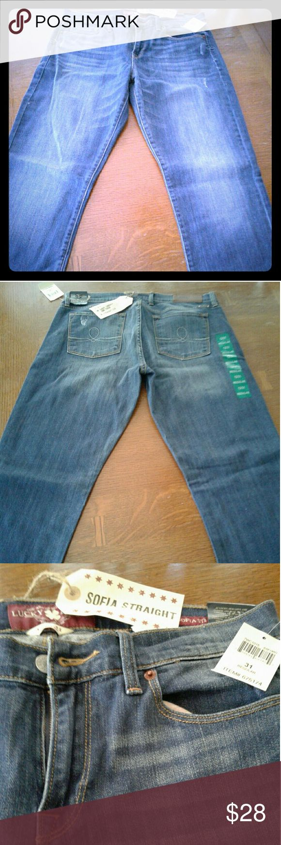 LUCKY Jeans - Sofia Straight Leg NWT straight leg jeans with some give, intentional, stylized tears to add character, never worn. Lucky Brand Jeans Straight Leg