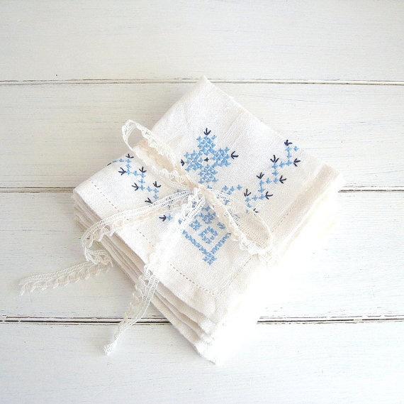 vintage cross stitch napkins found at sewlola on Etsy.